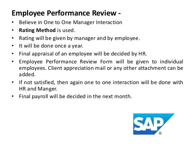 SAP (UTOPIAa Partner Company); 4. Employee Performance Review ...  Monthly Appraisal Form