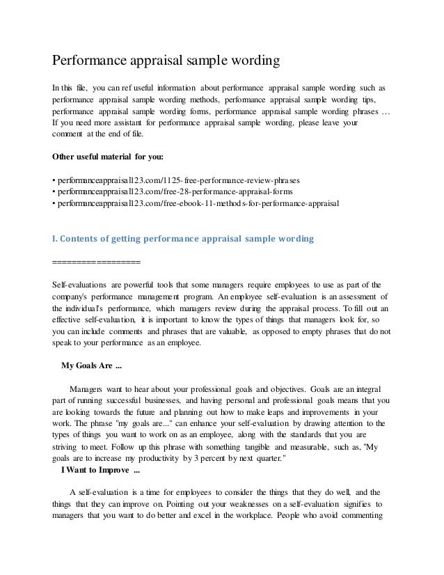 Performance Appraisal Sample Wording In This File, You Can Ref Useful  Information About Performance Appraisal ...