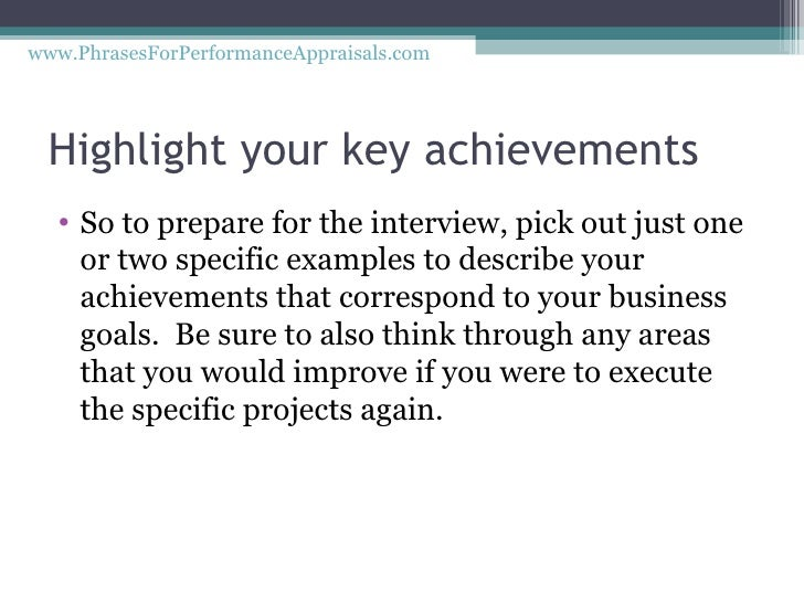 how to write achievements in performance appraisal