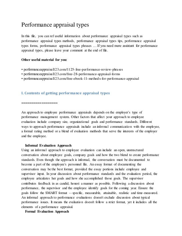 Performance appraisal types In this file, you can ref useful information about performance appraisal types such as perform...
