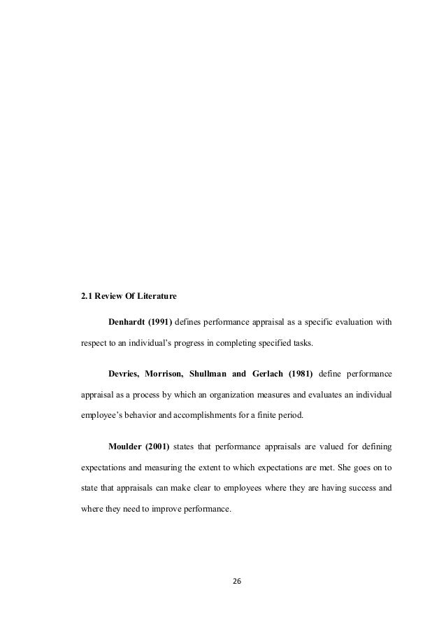 effectiveness of performance appraisal system power soap manufact chapter iireview of literature 25 26