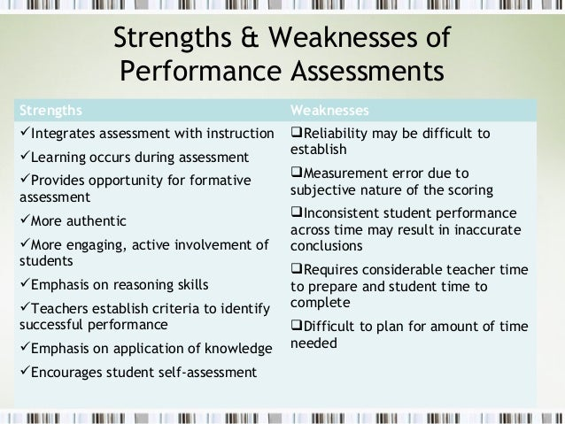... 4. Strengths U0026 Weaknesses Of Performance Assessments ...