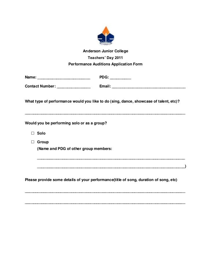 Performance Audition Forms