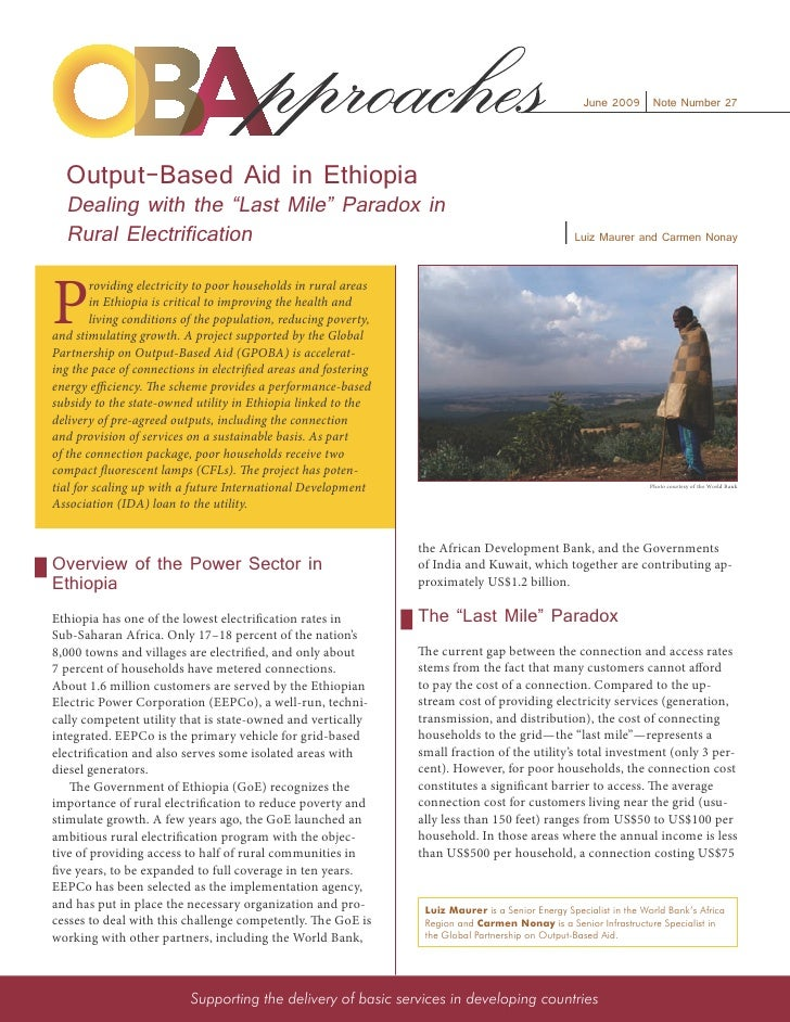 """June 2009 Note Number 27       Output-Based Aid in Ethiopia   Dealing with the """"Last Mile"""" Paradox in   Rural Electrificat..."""