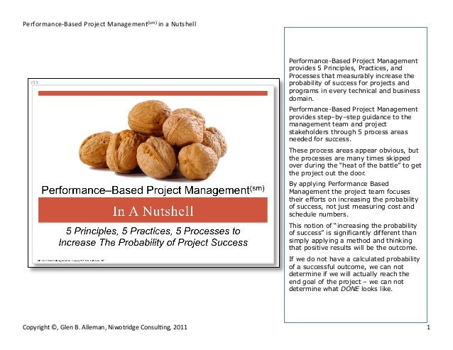 Performance-‐Based  Project  Management(sm)  in  a  Nutshell    Performance-Based Project Management provides...