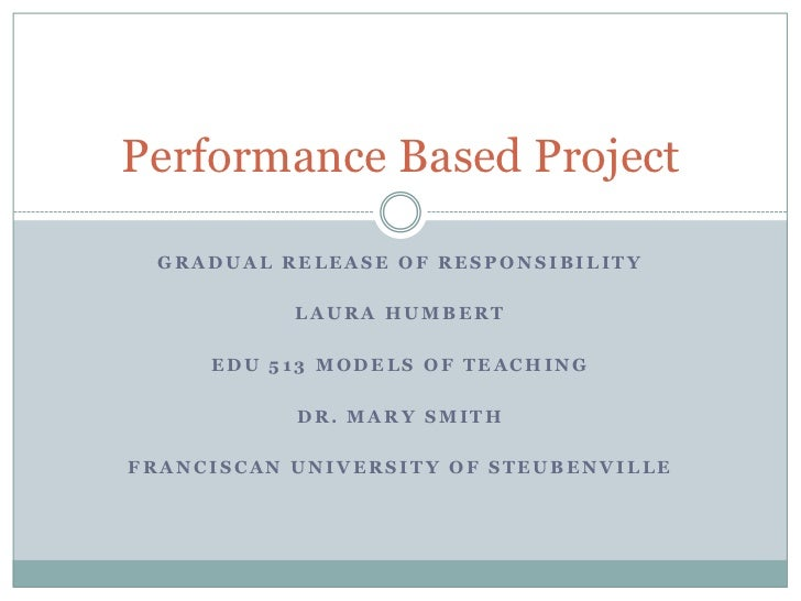 Performance Based Project  GRADUAL RELEASE OF RESPONSIBILITY           LAURA HUMBERT     EDU 513 MODELS OF TEACHING       ...