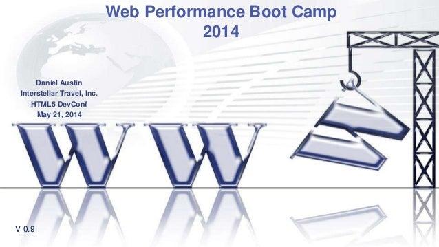 Web Performance Boot Camp 2014 Daniel Austin Interstellar Travel, Inc. HTML5 DevConf May 21, 2014 V 0.9