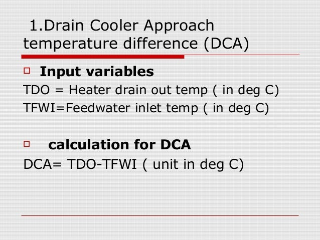 Performance calculation for feed water heater