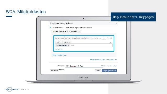 SEITE - 22 WCA: Möglichkeiten Bsp. Besucher v. Keypages