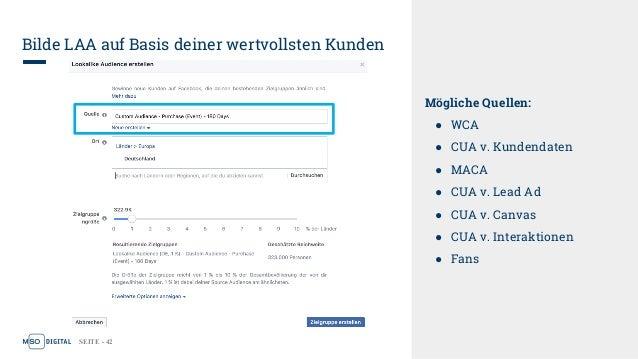 SEITE - 42 Bilde LAA auf Basis deiner wertvollsten Kunden Mögliche Quellen: ● WCA ● CUA v. Kundendaten ● MACA ● CUA v. Lea...