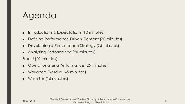 The Next Generation of Content Strategy: A Performance-Driven Model Workshop Slide 2