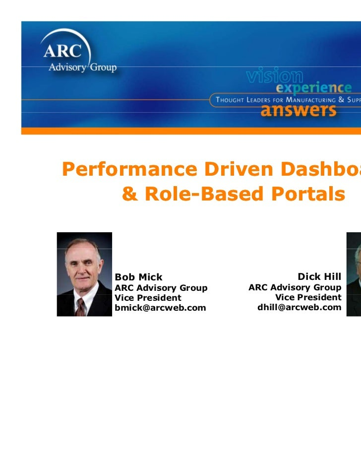 Performance Driven Dashboards     & Role-Based Portals    Bob Mick                       Dick Hill    ARC Advisory Group  ...