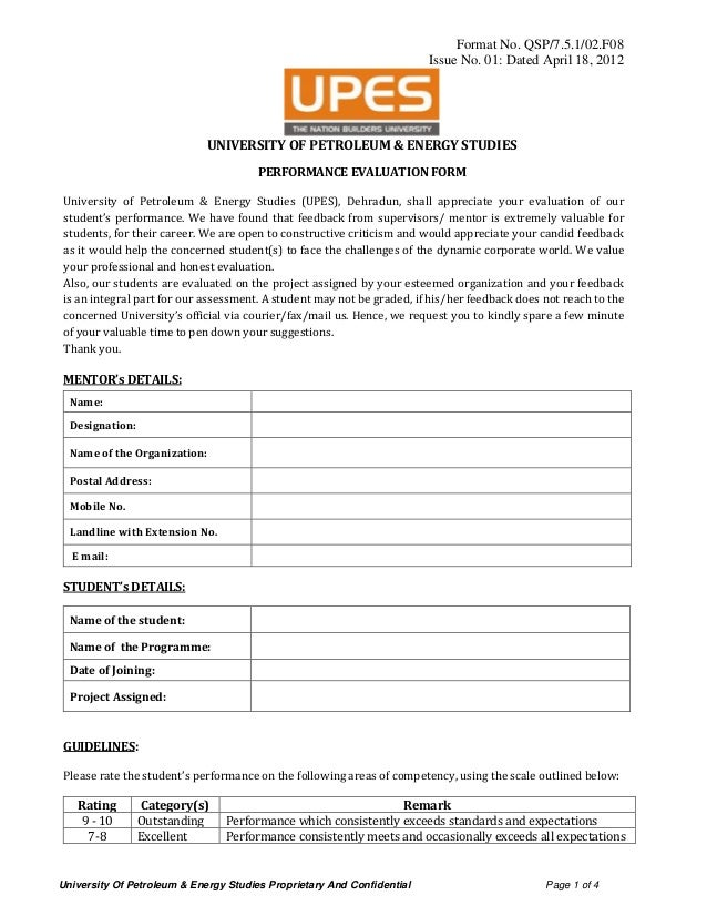 University Of Petroleum & Energy Studies Proprietary And Confidential Page 1 of 4 Format No. QSP/7.5.1/02.F08 Issue No. 01...