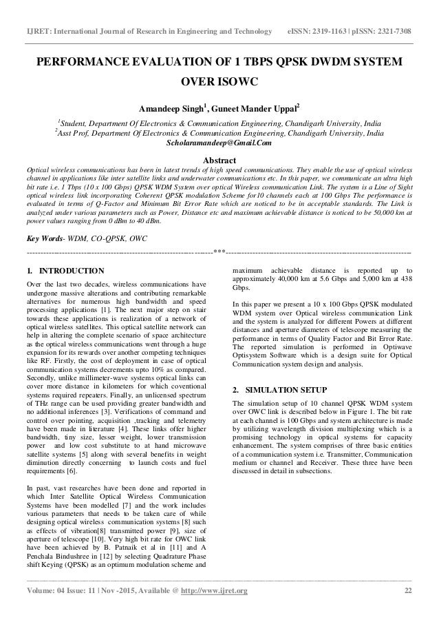 research paper on qpsk