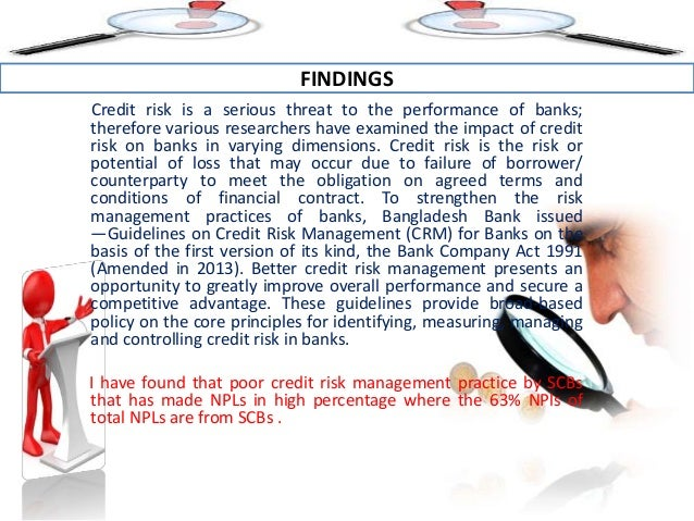 credit risk and commercial banks performances Risk management practices and financial performance ofislamic banks:   credit risk and commercial banks' performance in nigeria: a.