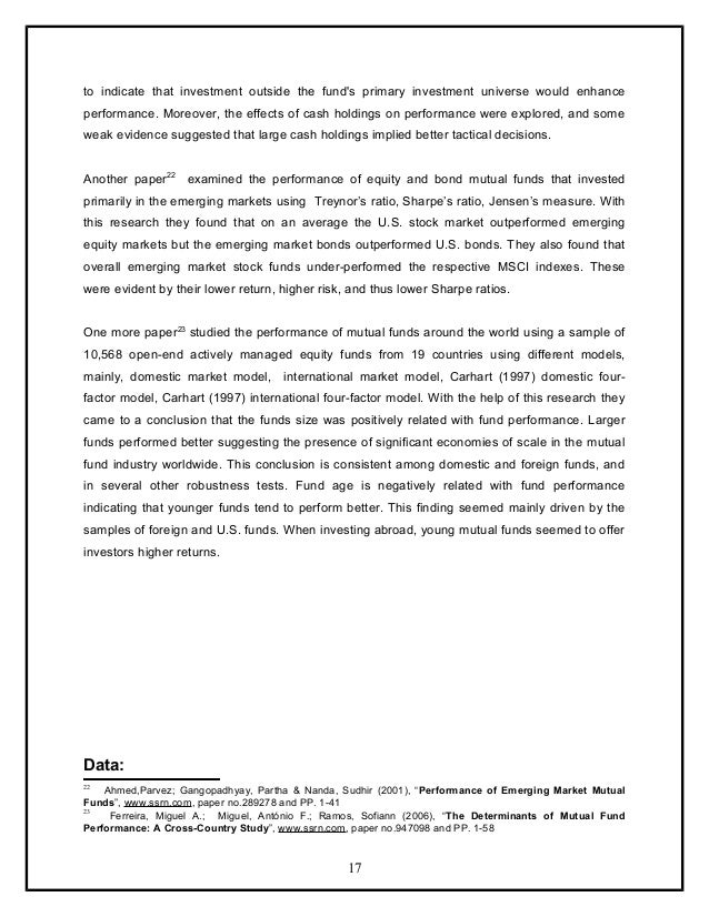 Research papers on performance evaluation of mutual funds