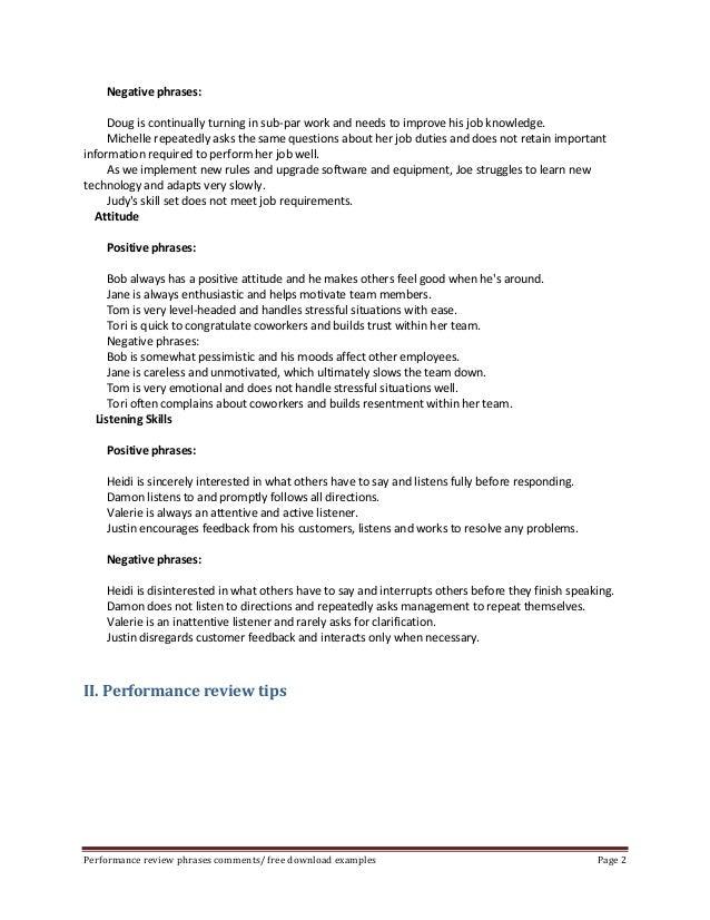 Performance evaluation phrases