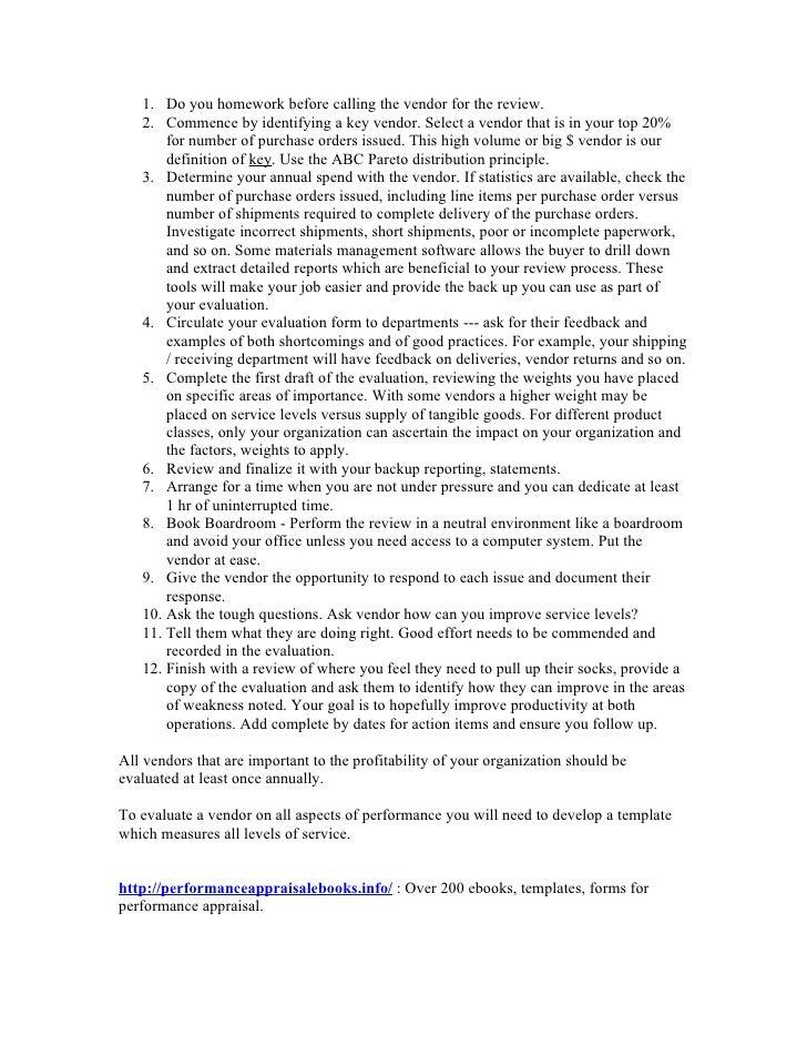 Performance evaluation sample – Sample Vendor Evaluation