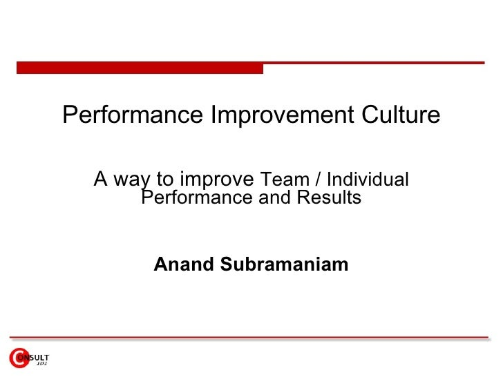 Performance Improvement Culture A way to improve  Team / Individual Performance and Results Anand Subramaniam