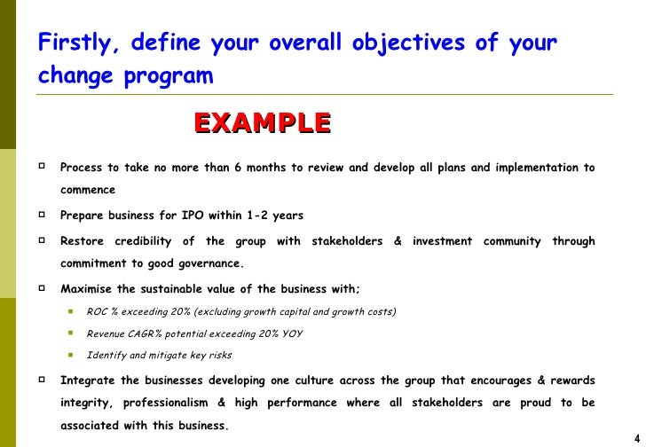 THE PROCESS; 4.  Example Of Performance Improvement Plan
