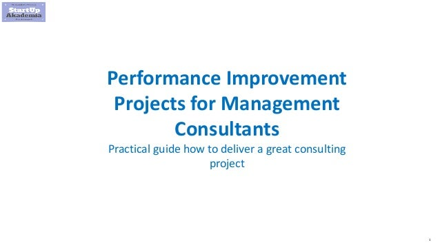 1 Performance Improvement Projects for Management Consultants Practical guide how to deliver a great consulting project