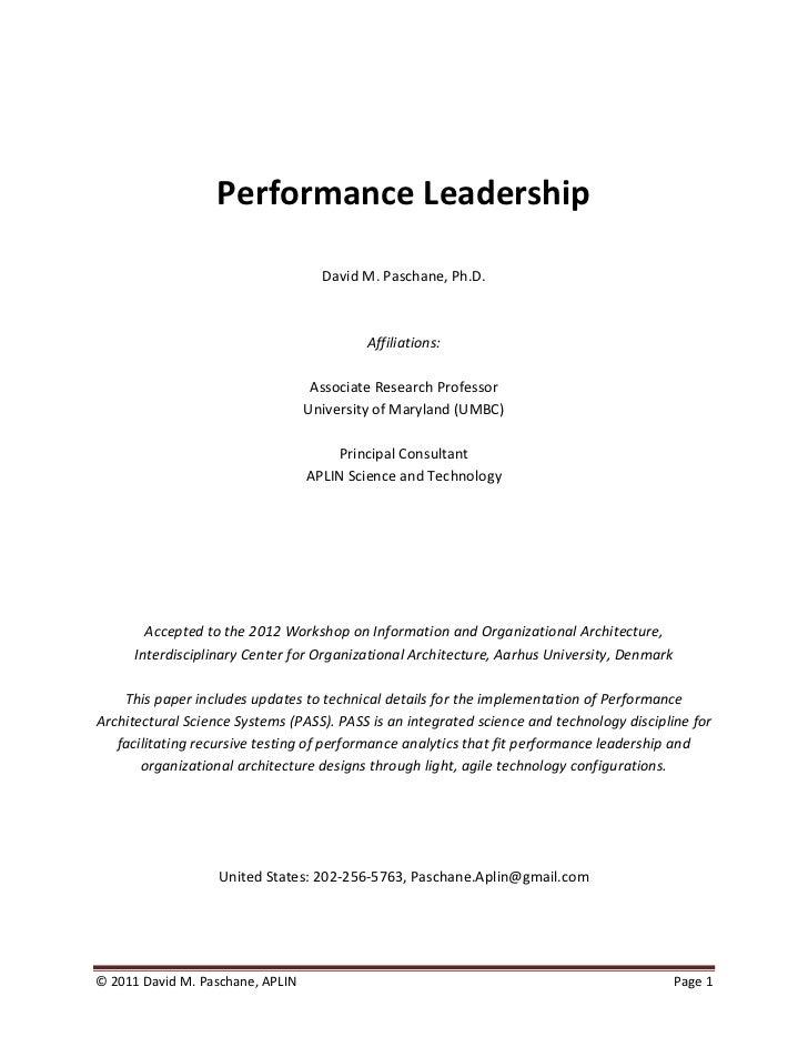 Performance Leadership                                    David M. Paschane, Ph.D.                                        ...
