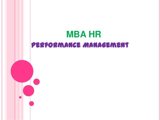 MBA HR Performance Management