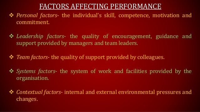factors affecting performance management