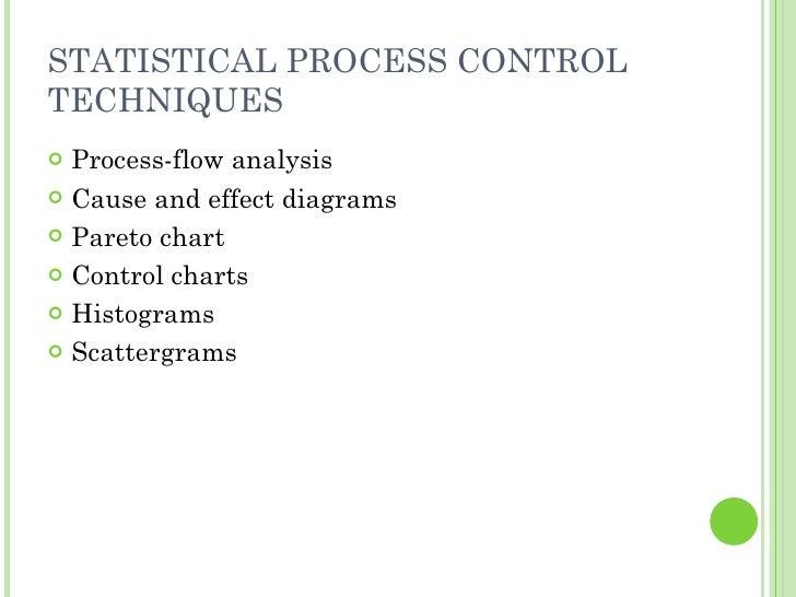 STATISTICAL PROCESS CONTROL TECHNIQUES <ul><li>Process-flow analysis </li></ul><ul><li>Cause and effect diagrams </li></ul...