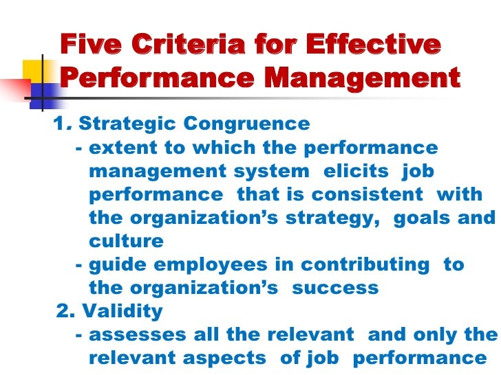 performance management  11 five criteria for effective performance management