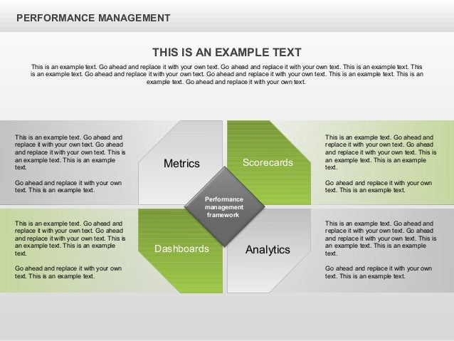 PERFORMANCE MANAGEMENT Metrics Scorecards Dashboards Analytics This is an example text. Go ahead and replace it with your ...