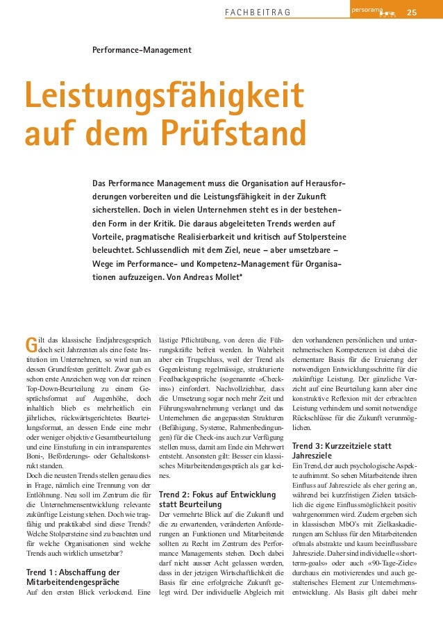 25F A C H B E I T R A G Performance-Management Das Performance Management muss die Organisation auf Herausfor- derungen vo...