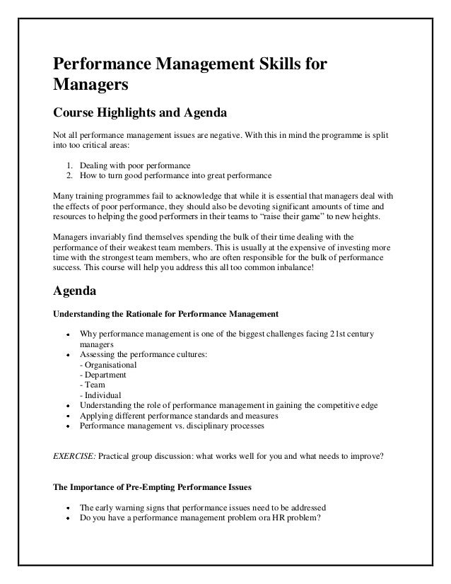 Performance Management Skills forManagersCourse Highlights and AgendaNot all performance management issues are negative. W...