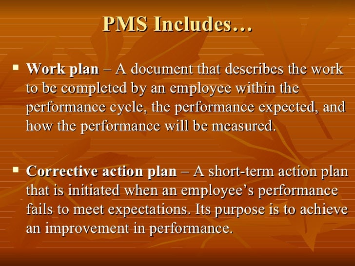 PMS Includes…   Work plan – A document that describes the work    to be completed by an employee within the    performanc...