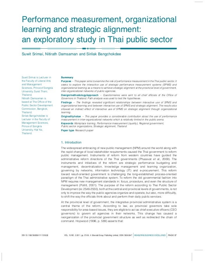 Performance measurement, organizationallearning and strategic alignment:an exploratory study in Thai public sectorSuwit Sr...