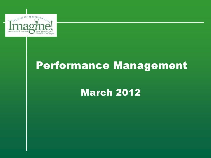 Performance Management      March 2012