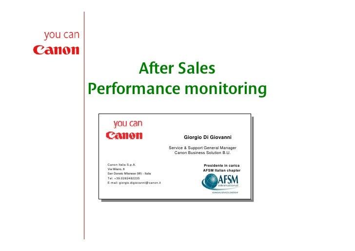 After Sales Performance monitoring                                                 Giorgio Di Giovanni                    ...