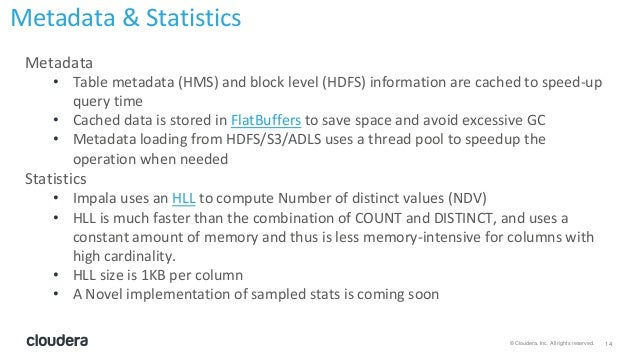 14© Cloudera, Inc. All rights reserved. Metadata • Table metadata (HMS) and block level (HDFS) information are cached to s...