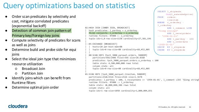 16© Cloudera, Inc. All rights reserved. Query optimizations based on statistics 02:HASH JOIN [INNER JOIN, BROADCAST]   has...
