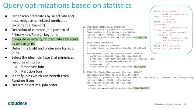 17© Cloudera, Inc. All rights reserved. Query optimizations based on statistics 02:HASH JOIN [INNER JOIN, BROADCAST]   has...