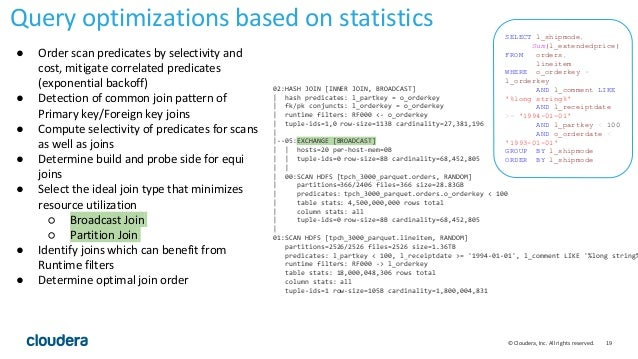 19© Cloudera, Inc. All rights reserved. Query optimizations based on statistics 02:HASH JOIN [INNER JOIN, BROADCAST]   has...