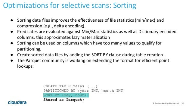 25© Cloudera, Inc. All rights reserved. ● Sorting data files improves the effectiveness of file statistics (min/max) and c...