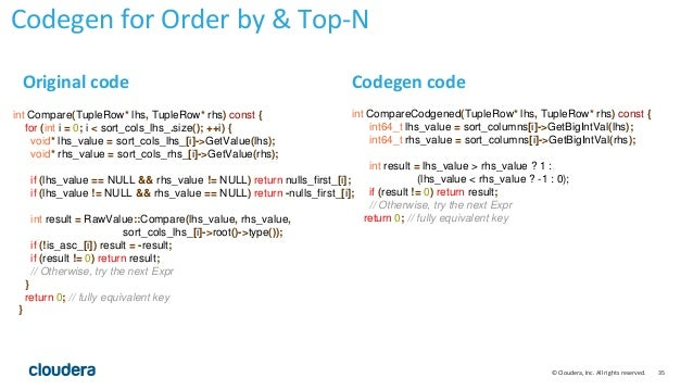 35© Cloudera, Inc. All rights reserved. int CompareCodgened(TupleRow* lhs, TupleRow* rhs) const { int64_t lhs_value = sort...