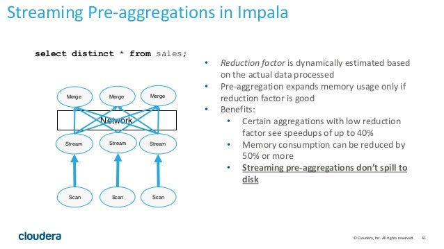 41© Cloudera, Inc. All rights reserved. select distinct * from sales; • Reduction factor is dynamically estimated based on...