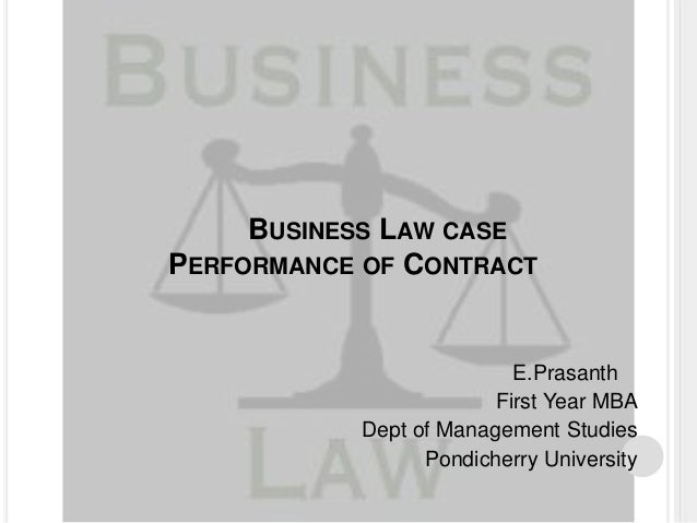 Performance of Contract ,Business Law case