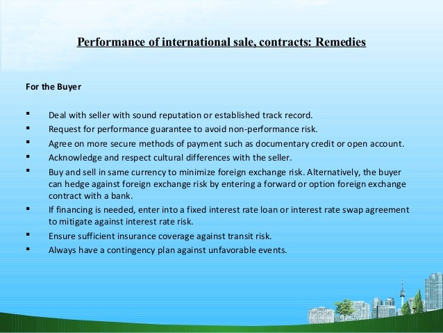 Performance of intl sale contract