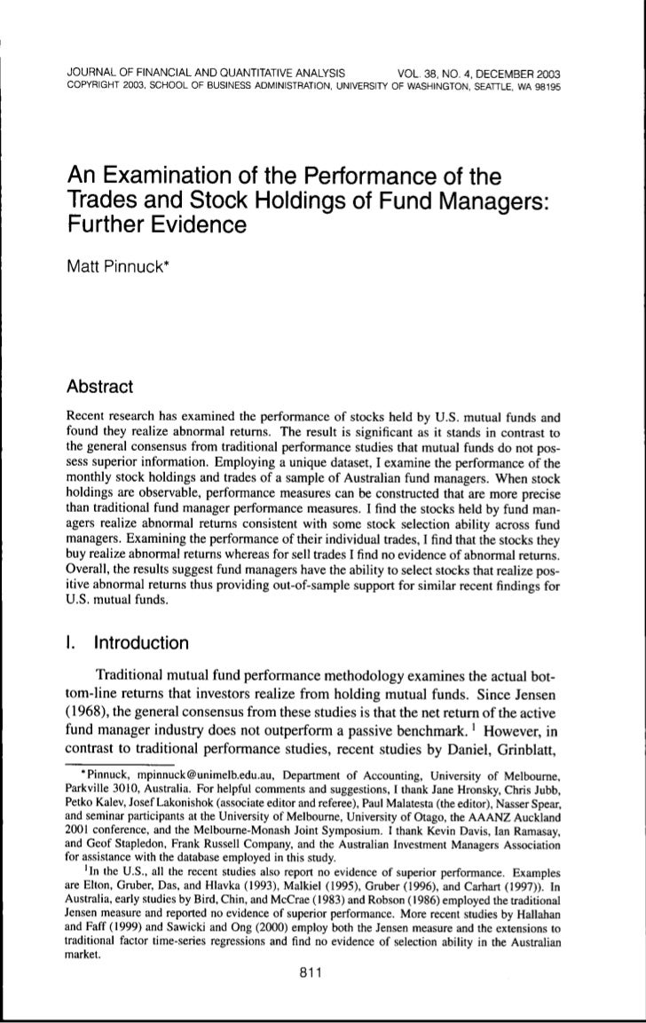Performance of trades and stocks of fund managers pinnuck buycottarizona Choice Image