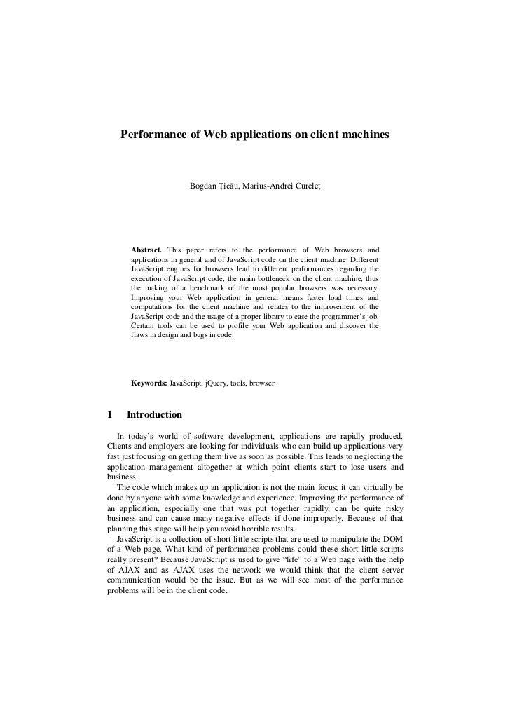 Performance of Web applications on client machines                             Bogdan Țicău, Marius-Andrei Cureleț        ...