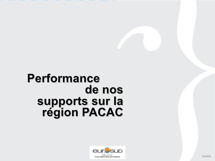 Performance  de nos supports sur la région PACAC 16/09/08