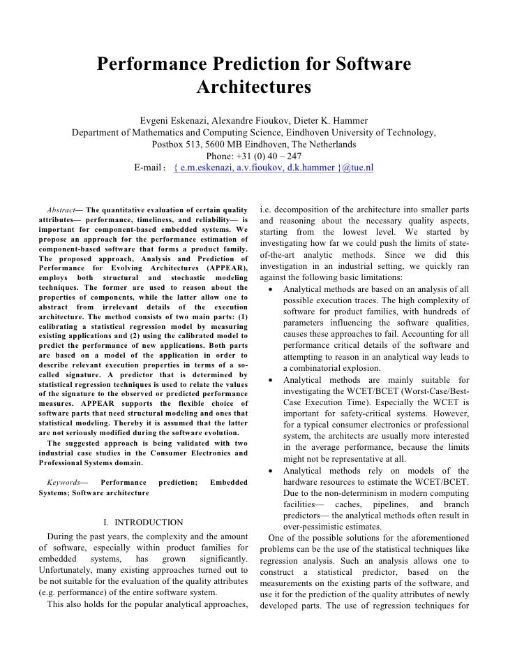 Performance Prediction for Software                           Architectures                        Evgeni Eskenazi, Alexan...